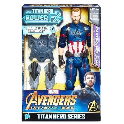 Imagem 1 de 7 de Boneco Capitão América C/ Som - Titan Hero Series - Hasbro
