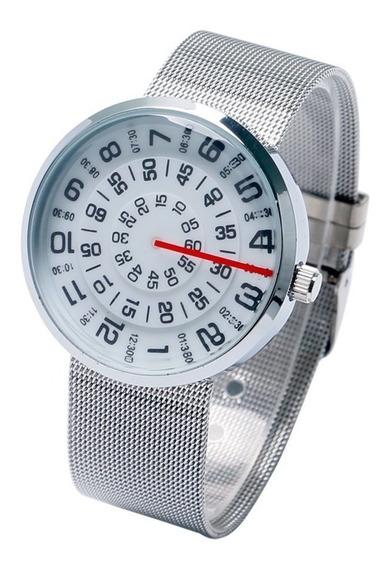 Relógio Números Circulares Pulseira Metal 4cm