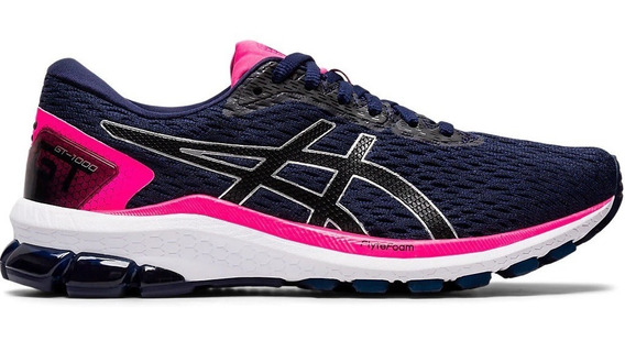 Zapatilla Asics Running Mujer Gt 1000 9 Azul-marino-rosa Ras