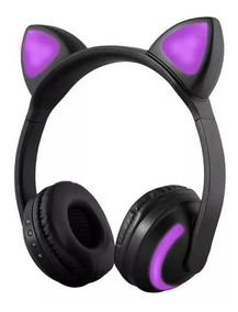 Fone De Ouvido Bluetooth Orelha De Gato Com Led Headfone