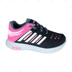 Tenis Infantil Feminino Gelo/preto/pink Zeus Original Barato