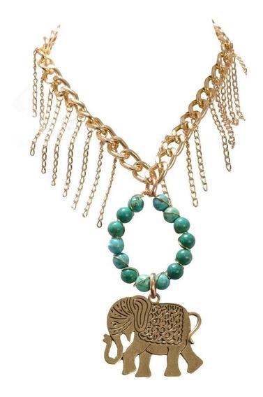 Collar Elefante Jade Y Dorado