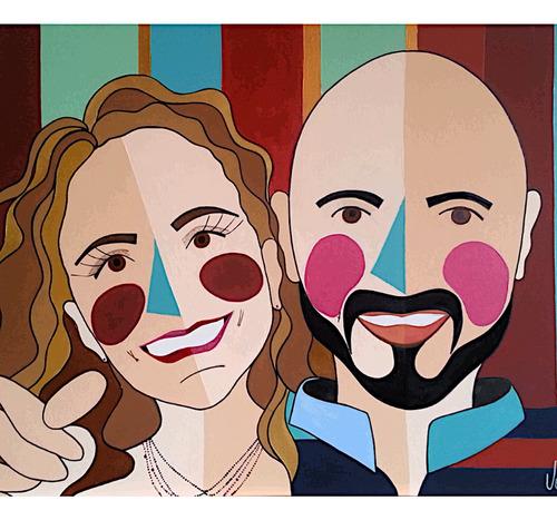 Imagem 1 de 1 de Quadro Pop Art Personalizado - 2 Figuras