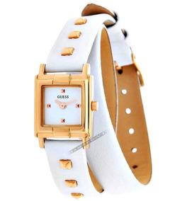 Relógio Guess Feminino Original Dourado Pulseira Couro Branc