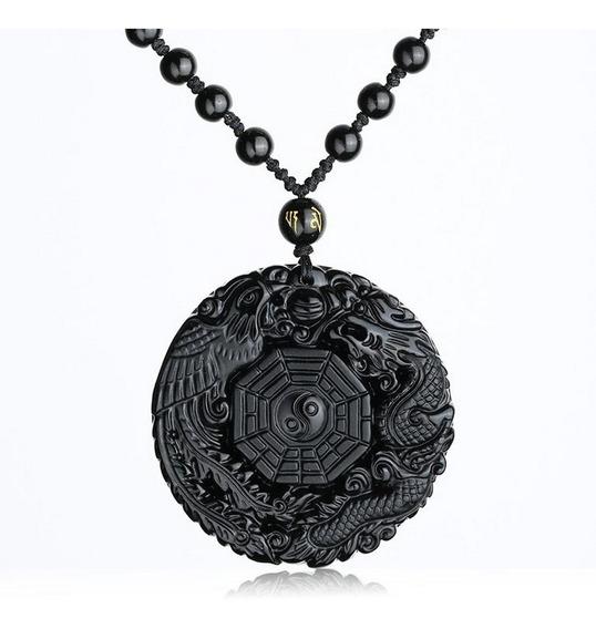 Colar Pedra Natural Obsidiana Preto Yin Yang Fênix Dragão