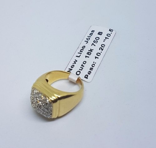 Anel Em Ouro 18k 750 Modelo Pavê Com Brilhantes Verdadeiros