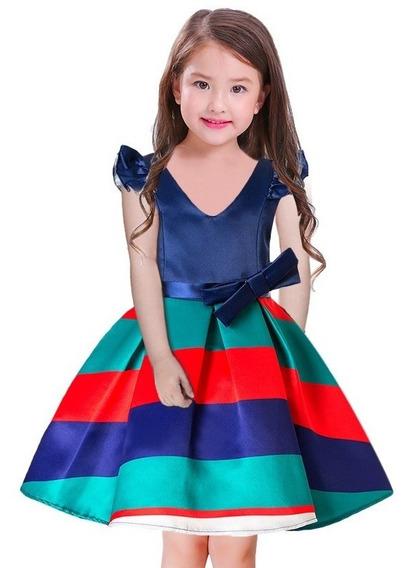Vestido Niña 3 Años Rayado A La Rodilla Babynova V2