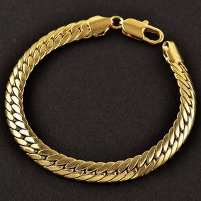 Pulseira Bracelete Masc Banho Ouro18k 24cm 10mm Semi Joia