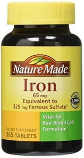 Nature Made Iron Suplemento 65mg 365 Comprimidos Val 10/2021
