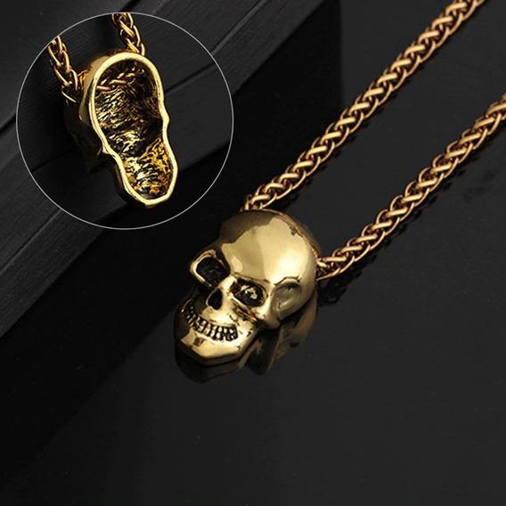 Corrente Pingente Caveira Cordão Aço Inoxidável Skull Ouro