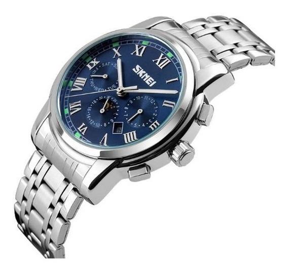 Relógio Skmei 9121 Masculino Quartz Visor Azul Claro Belo
