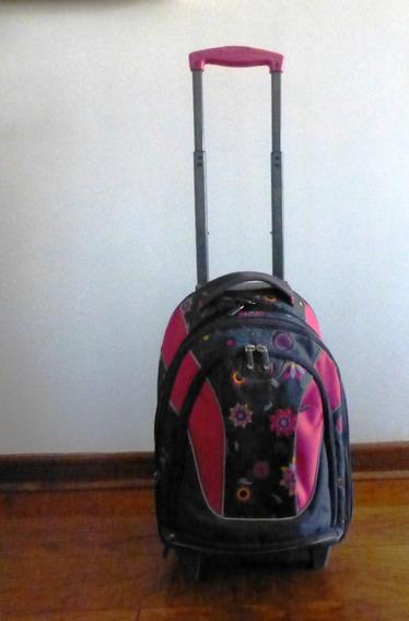 Mochila Head Terrano Rosada Con Ruedas Fuelle Extensible