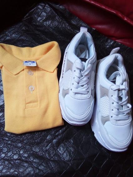 Zapatos Deportivos Y Franelas Colegial