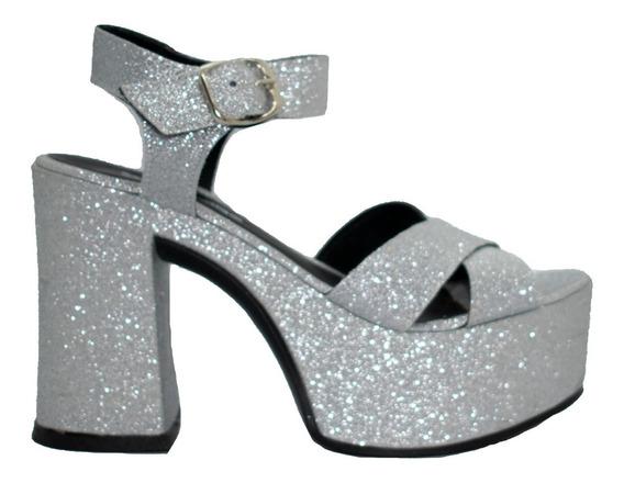 Sandalias Mujer Tacona Plataforma Glitter Plata Cruzadas