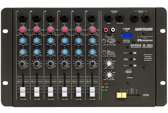 Mesa De Som Stereo 6 Canais Wattsom Ciclotron Mxs 6 Sd + Usb