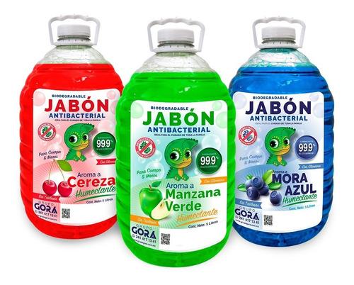 Imagen 1 de 5 de Kit Jabón Para Manos Líquido Cereza Chicle Mora Azul 5 L C/u