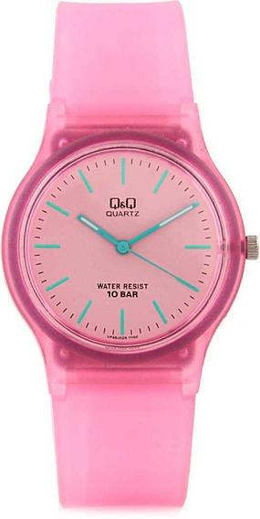 Relógio Infantil Feminino Rosa Transparente Q&q Ponteiros