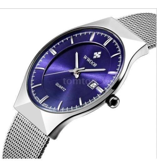 Relogio Wwoor Mostrador Azul Masculino Simples Com Caixa