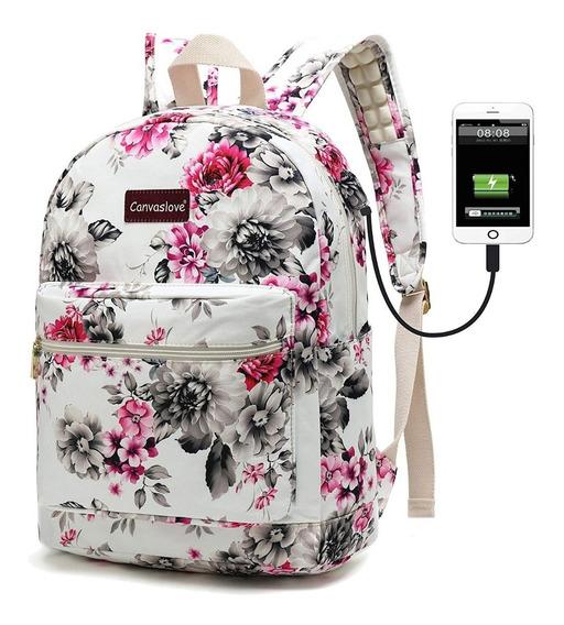 Mochila Juvenil Flores Impermeable Canvaslove Laptop Usb Cha