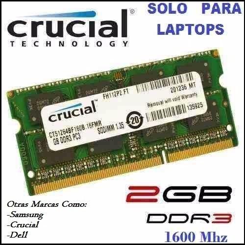 Tarjeta Ram Ddr3 2gb 1600mhz Para Laptop ( 20000s )