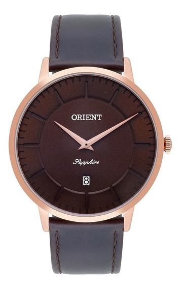 Relógio Orient Slim Masculino Mrscs002 Rosegold Vid. Safira