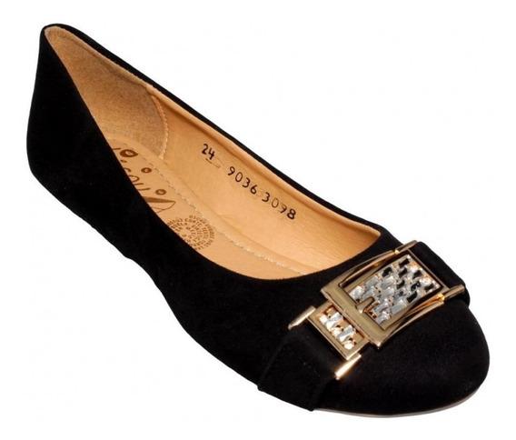Flats Para Mujer Marca Bisou Textil Negro 4792