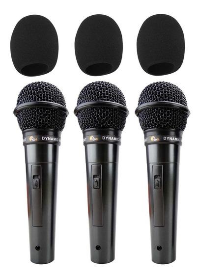 Microfones Kadosh Kds 300 Com Fio + Espumas Brindes Kit 3 Un