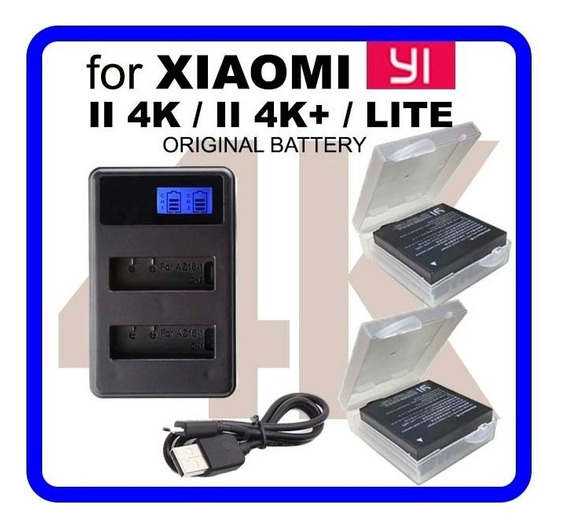 2baterias Orig+carreg Dup Lcd Xiaomi Yi Ii 4k, 4kplus E Lite