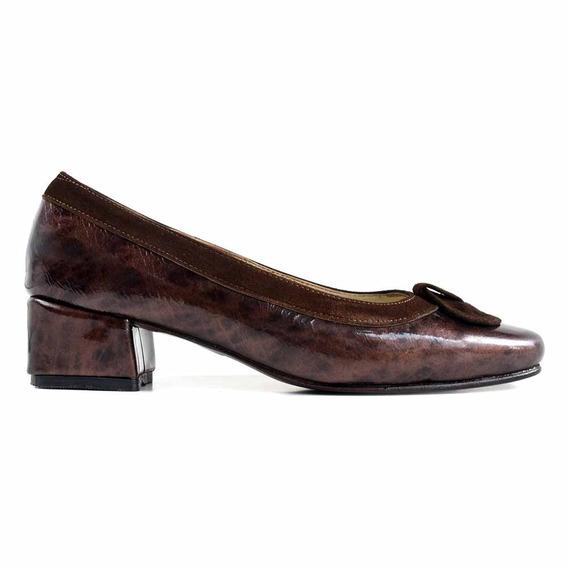 Zapato Cuero Mujer Briganti De Vestir Con Taco - Mccz03471
