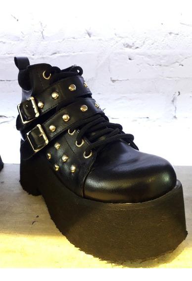 Zapato Mujer Othilia Acordonado C/tachas Negro Envio Gratis