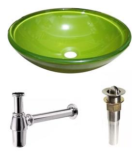 Bacha Apoyo Baño Vidrio Templado Verde 35 Cm Sifon Sopapa