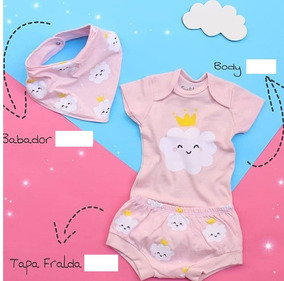 Kit Body Para Bebê Menina Coroa + Babador +tapa Fraldra