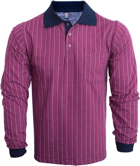 Camisa Polo Manga Longa Com Bolso Listrado Moletim