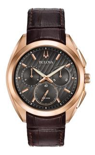 Reloj Bulova Hombre Curvo Cristal Zafiro Cuero 97a124