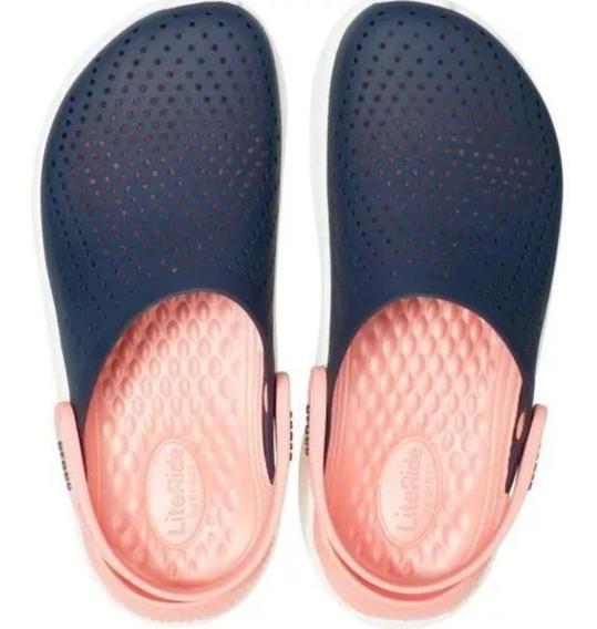 Sandalia Sueco Crocs Literide Clog Azulrosa Original Dama