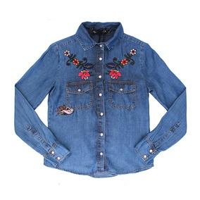 Camisa Jeans Authoria Com Bordado Flores