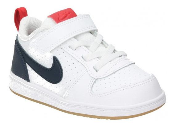 Tenis Nike Court Borough Low Tdv Blanco/azul 870029-105