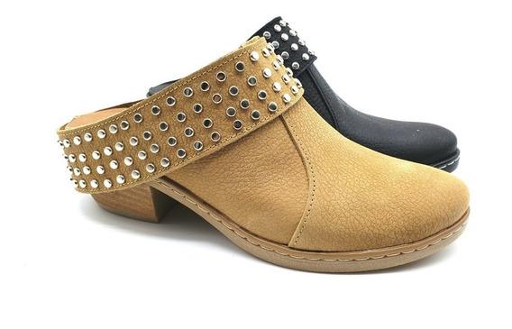 Zuecos Cuero Tachas Zapatos Taco Goma Desmontable Mujer
