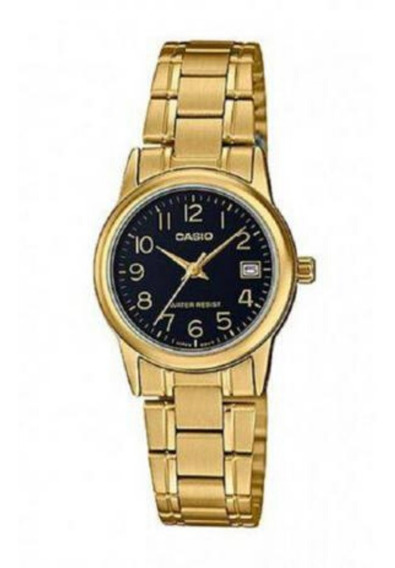 Relógio Casio Feminino Dourado Pequeno Fundo Preto + Nf