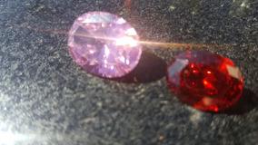 Anel Cristao Pedra Rosa E Vermelha - Kit 2 Aneis
