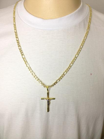 Cordão Corrente Masculino Banhada Ouro 18k 70cm Ping Cruz 4m