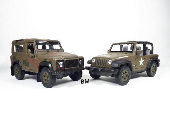 Kit Exercito Jeep E Land Rover Miniatura De Metal Welly