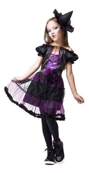 Roupa Da Bruxinha Hilda Infantil De Halloween Feminina + Nf
