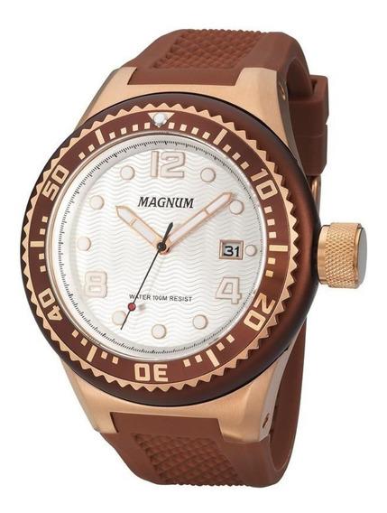 Relógio Masculino Magnum Ma34021z Marrom Com Dourado