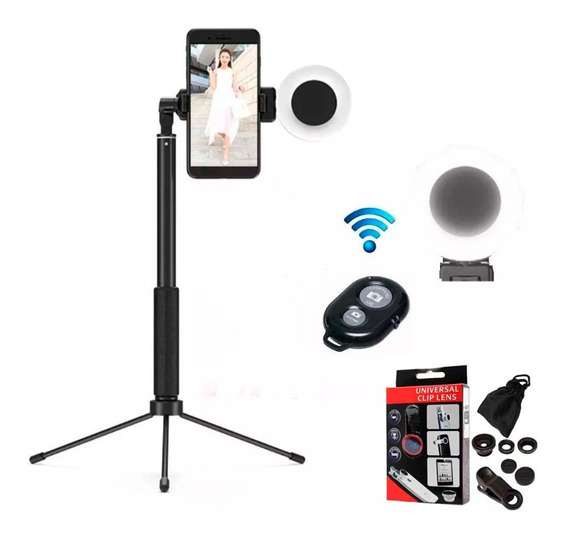 Pau Selfie Tripé Controle Bluetooth + Ring Light Led + Lente