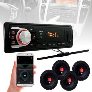 Kit 4 Auto Falante 6 Pol + Radio Carro Mp3 Usb+ Antena Fm