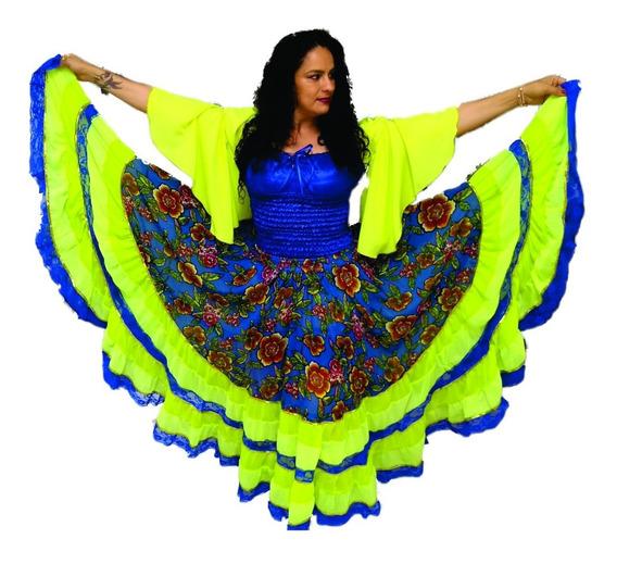 Roupa Cigana Azul E Amarela 01-0041