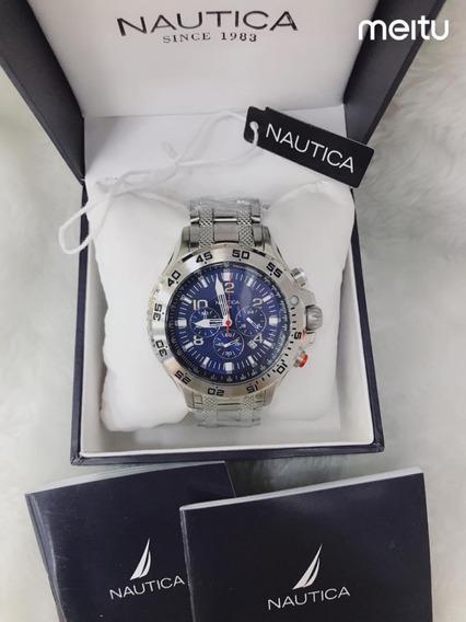 Relógio Kkp4587 Nautica Prata Fundo Azul Com Caixa Original