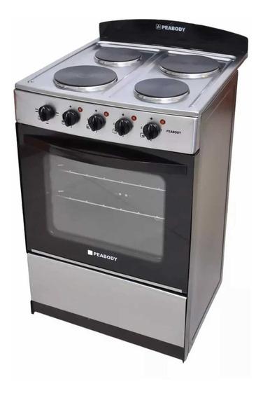 Cocina Electrica Peabody 56 Acero Inox 4 Bocas Horno Grill