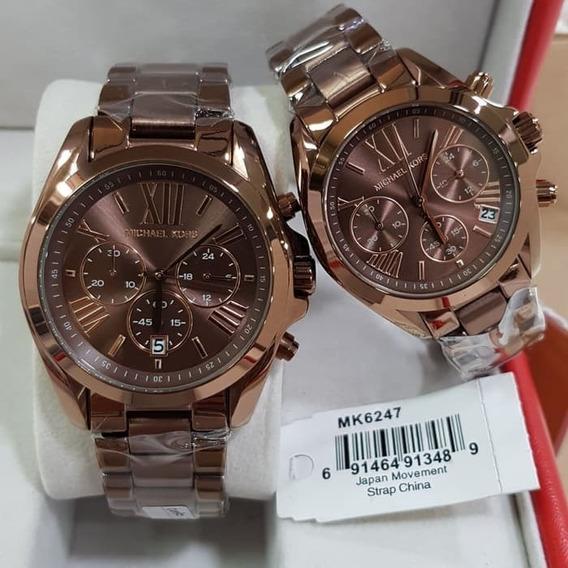Relógio Michael Kors Mk6247 Marrom + Caixa E Manual